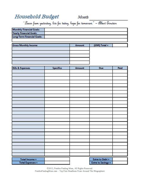 printable budget worksheets