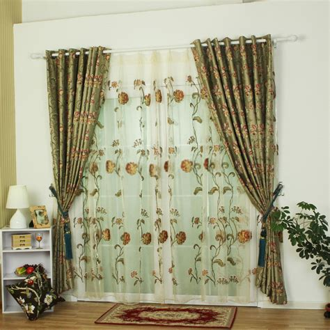 polyester fabric green curtains sale   bedrooms