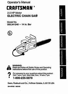 Craftsman 358341240 User Manual Electric Chain Saw Manuals