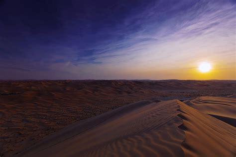 Desert Sunset Sand Landscapes Nature Dunes Sky