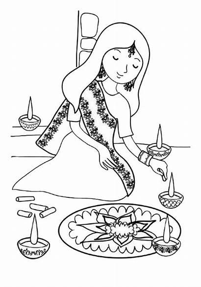 Coloring Indian Rangoli Decorating Colorluna Diwali Festival
