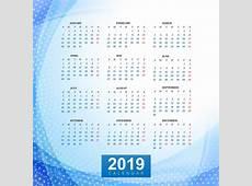 Modelo de calendário 2019 com fundo de onda Download