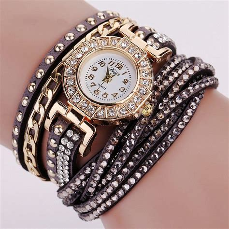 jam tangan wanita model gelang rhinestone dy white