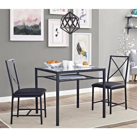 3pc Dinette Set Kitchen Table Chairs Small Black Glass