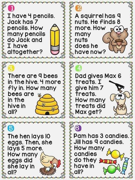 A free math test of word problems using addition and subtraction of numbers up to 10. 1st grade math worksheets addition word problems ...