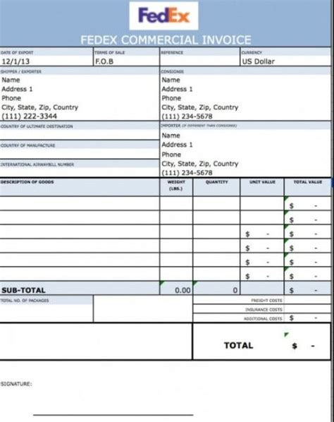 fedex commercial invoice excel sample invoices template