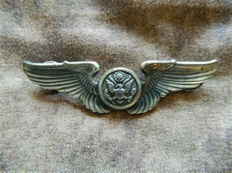 vintage  sterling silver army air force wing pin badge