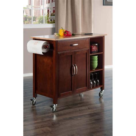 wood kitchen island cart winsome wood mabel walnut kitchen cart 94843 the home depot 1592