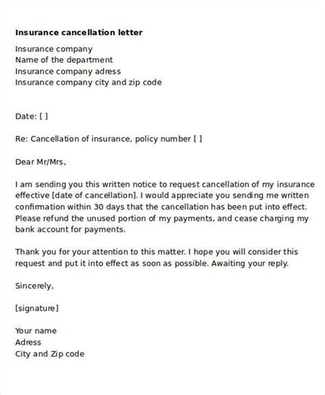 insurance cancellation letter 30 termination letter formats sle templates 12704