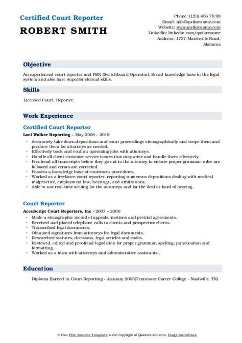court reporter resume samples qwikresume
