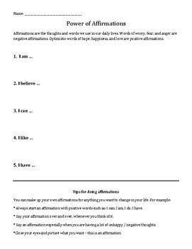 power  affirmations positive  talk worksheet tpt