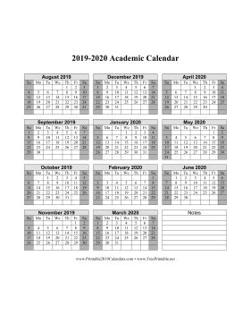 printable academic calendar