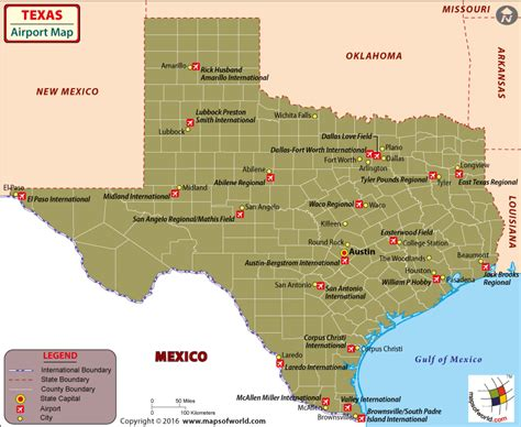 Texas Airports Map, Airports in Texas