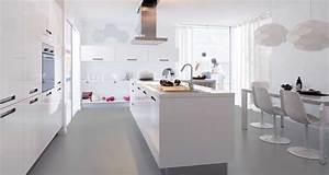 La cuisine blanche confirme son style de deco tendance for Deco cuisine avec chaise salon blanche