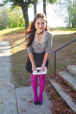 magenta tights black liz claiborne purses white poof