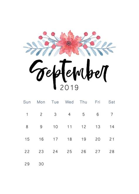 printable calendar september calendar
