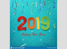 Happy New Year 2019 Colorful Paper Abstract Design Stock