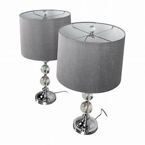 38% OFF - Pair of Glass Ball Base Table Lamps with Gray