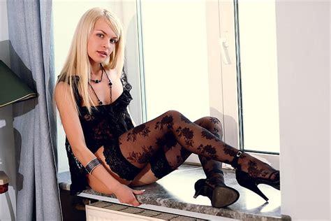 Hd Wallpaper Womens Black Floral Stockings Look Girl Negligee Window Wallpaper Flare