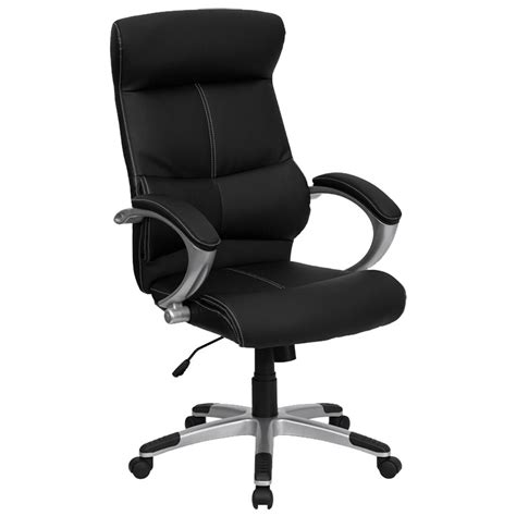 Office Chairs With Lumbar Support by High Back Black Leather Contemporary Executive Office