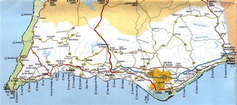 large map  algarve  beaches roads   marks