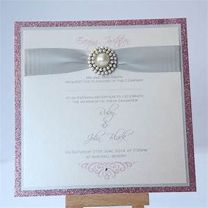 silver pink sparkle wedding invitation with pearl With silver glitter wedding invitations uk