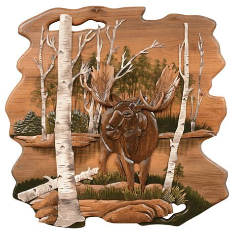 Moose in Birch Wood Wall Carving