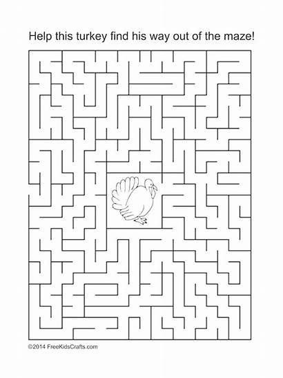 Maze Thanksgiving Printable Puzzle Puzzles Way Word