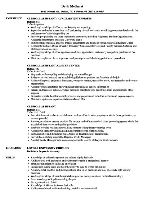 Clerical Position Resume by Resume Profile Exles Clerical Data Entry Clerk Resume