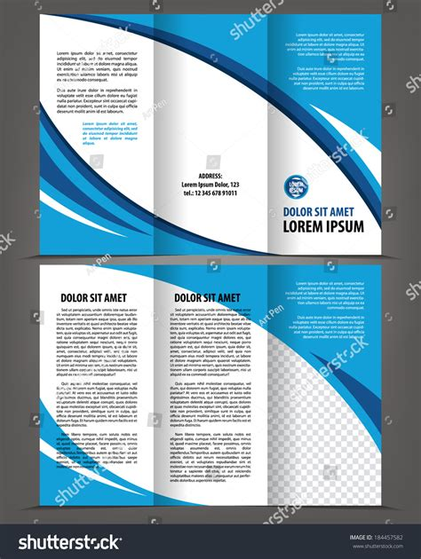 trifold design template empty vector empty trifold brochure template blue design