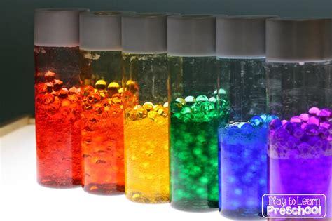 sensory bottles for preschool dollar rainbow bottles for the light table 706