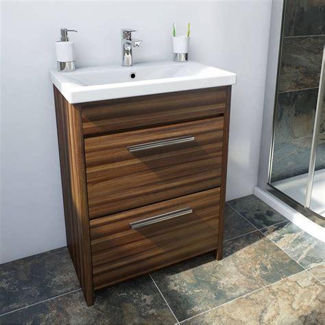 smart walnut floor mounted  drawer unit basin
