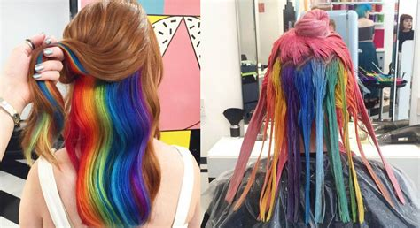 Hidden Rainbow Hair The Latest Trend Blowing