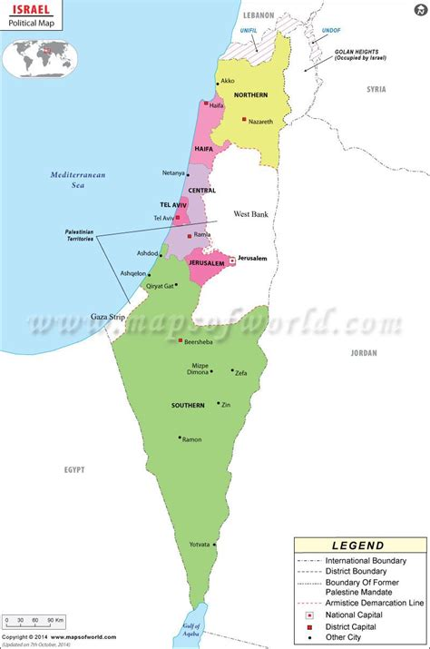 israel political map showing  international boundary