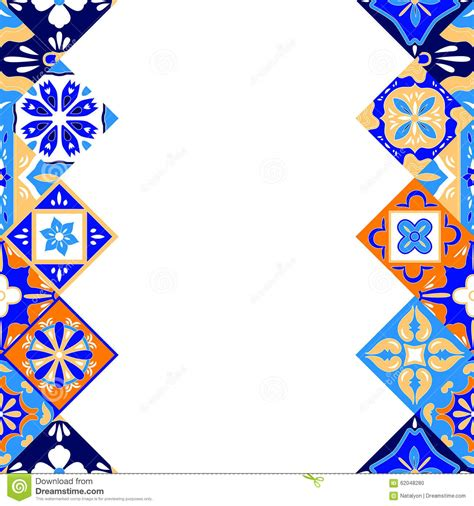 mexican stylized talavera tiles seamless border in blue