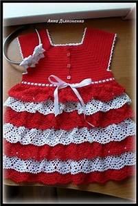 Robe rouge et blanche avec ses grilles gratuites for Robe rouge bebe