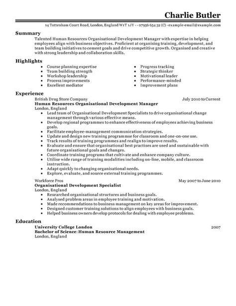 Resume Resources by Best Organizational Development Resume Exle Livecareer