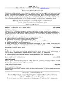 exle resume for network administrator network administrator resume template premium resume sles exle