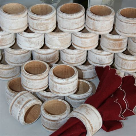 1 rustic napkin ring holder wedding napkin rings white washed napkin ring holder