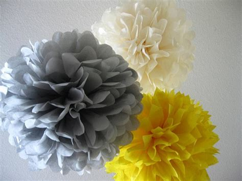 10 tissue paper pom poms large and medium sale yellow and