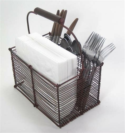 Rustic Country Style Wire Divided Cutlery Caddy Holder