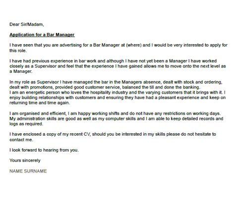 bar manager cover letter exle icover org uk