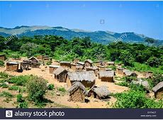 Villages of Angola in the countryside, with mud houses and