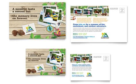 kids summer camp postcard template design