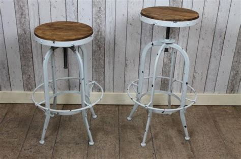 vintage industrial style bar stools in white