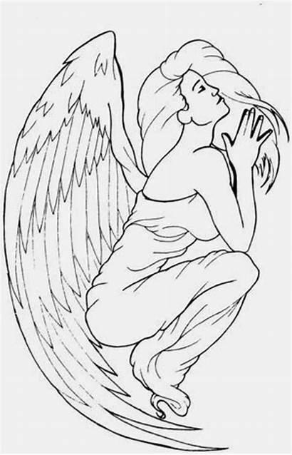 Angel Praying Drawing Tattoo Cool Getdrawings