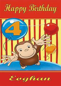 Personalised Curious George Birthday Card