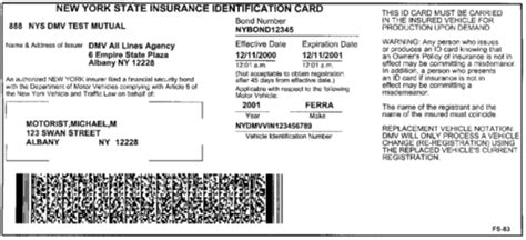 Sample NYS Insurance ID Cards