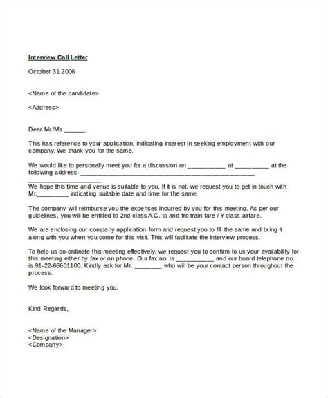 interview letter templates   word  documents