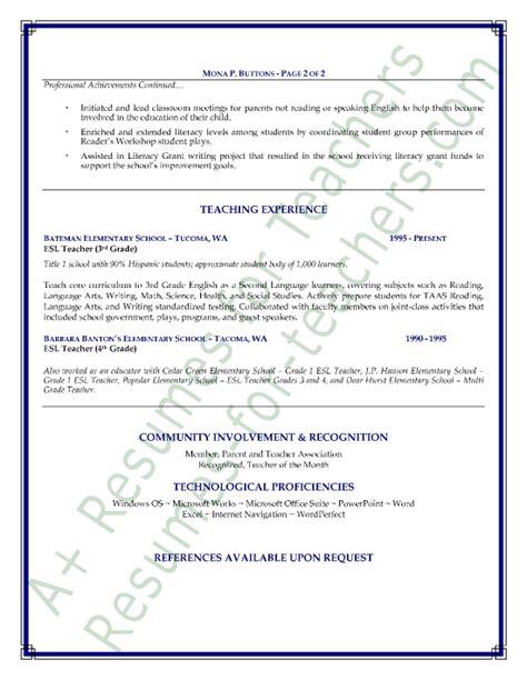 esl teacher resume sample